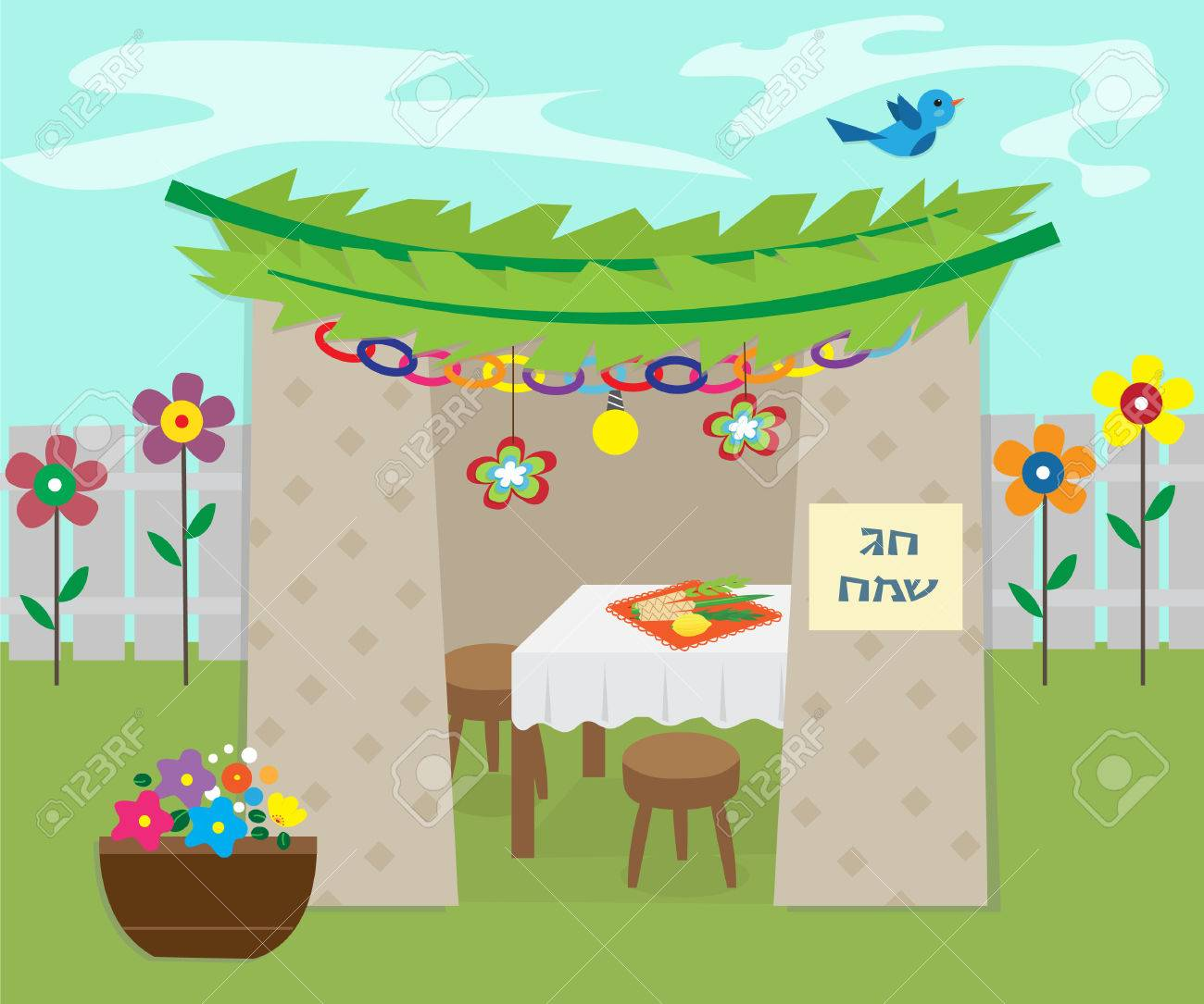 22185127-decorativo-sucá-ilustración-de-sucá-con-decoración-y-símbolos-de-vacaciones